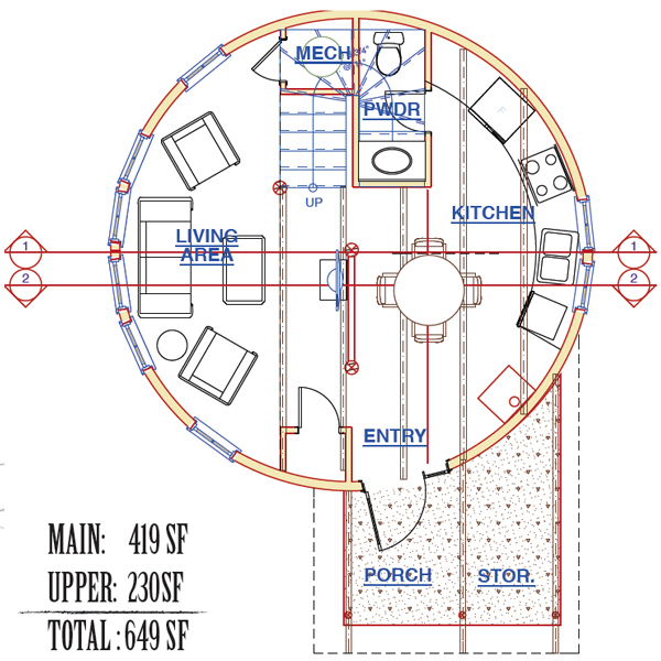 The ruby silo pioneer cabin company for Silo home floor plans